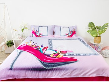 Pink High Heel And Makeup Tools 3D Printed 4-Piece Microfiber Bedding Sets No-fading Duvet Covers