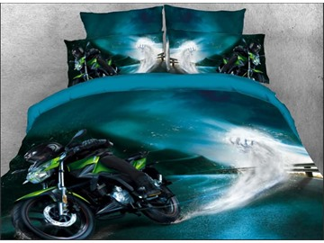 Onlwe 3D Speeding Green Sports Motorcycle Printed 4-Piece Bedding Sets/Duvet Covers