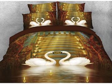 Vivilinen 3D Couple Swans in Love Candles Vintage 4-Piece Bedding Sets/Duvet Covers