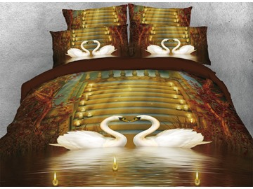 Onlwe 3D Couple Swans in Love Candles Vintage 4-Piece Bedding Sets/Duvet Covers