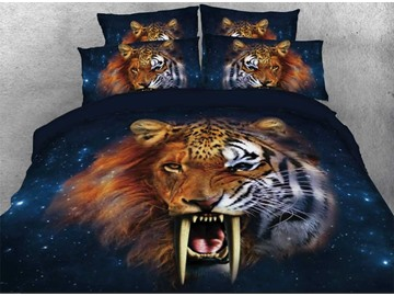 Onlwe 3D Smilodon Tiger Lion Leopard Printed 4-Piece Galaxy Bedding Sets/Duvet Covers