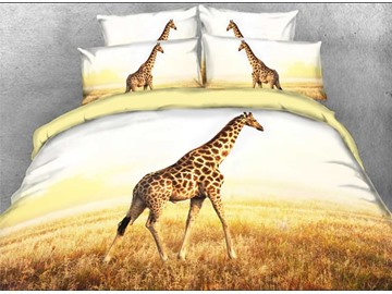 Giraffe in African Safari Wildlife Park 4-Piece 3D Bedding Sets with Hidden Zipper Duvet Cover Envelope Pillowcases and Buffy Sheet