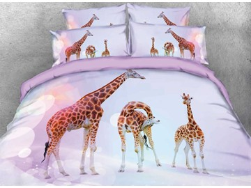 Giraffe Family Duvet Cover Set Animal Printed 4-Piece 3D Bedding Sets
