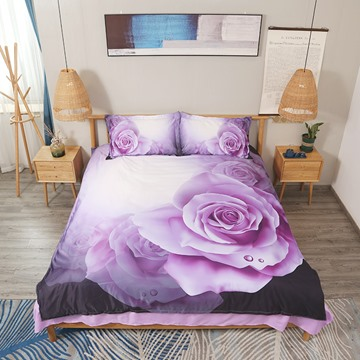 Dewy Purple Roses Printed 4-Piece 3D Floral Bedding Sets/Duvet Covers Polyester