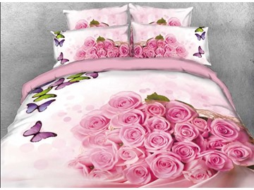 Onlwe 3D Bunch of Pink Roses Colorful Butterflies 4-Piece Bedding Sets/Duvet Covers