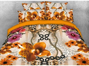 Vivilinen 3D Peony and Leopard Pattern Luxury Style 4-Piece Bedding Sets/Duvet Covers