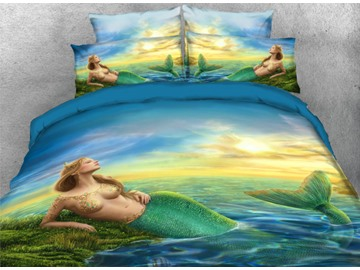 Onlwe 3D Mermaid Printed Coastal Style 4-Piece Bedding Sets/Duvet Covers