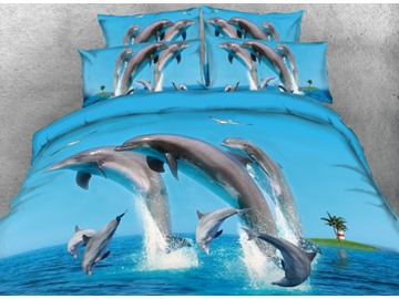 Onlwe 3D Jumping Dolphins and Flying Seagull 4-Piece Blue Bedding Sets/Duvet Covers