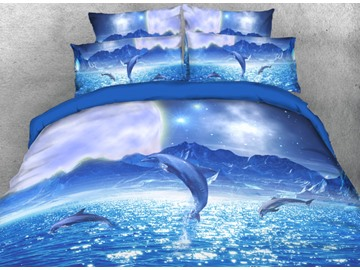 Jumping Dolphins and Starry Sky 3D 4-Piece Bedding Sets/Duvet Covers