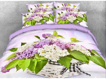 Onlwe 3D Lilac in Basket Printed 4-Piece Floral Bedding Sets/Duvet Covers