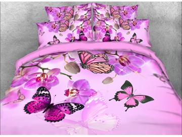 Orchid and Butterfly Printed 4-Piece Floral 3D Bedding Sets/Duvet Covers