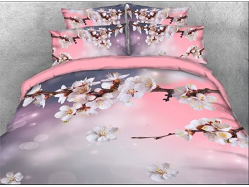 Onlwe 3D Spring Cherry Blossom Branches Printed 4-Piece Floral Bedding Sets/Duvet Covers