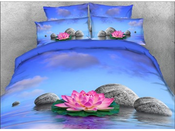 Onlwe 3D Pink Lotus Printed 4-Piece Floral Bedding Sets/Duvet Covers