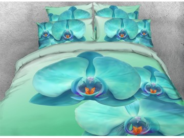 Vivilinen 3D Turquoise Orchid Printed 4-Piece Floral Bedding Sets/Duvet Covers
