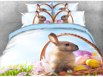 Onlwe 3D Easter Egg and Bunny in Basket Printed 4-Piece Bedding Sets/Duvet Covers