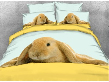 Onlwe 3D Sandy Lop Bunny Printed 4-Piece Bedding Sets/Duvet Covers