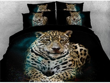 Onlwe 3D African Leopard Lying Down Printed 4-Piece Black Bedding Sets/Duvet Covers