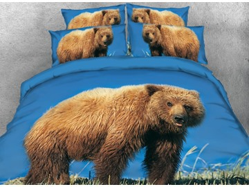 3D Brown Bear Animal Printed 4-Piece Blue Bedding Sets Zipper Duvet Cover with 2-Piece Envelope Pillow Covers and 1-Piece Sheet