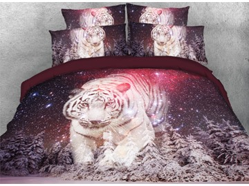 Tiger at Starry Snowy Night Printed 4-Piece 3D Bedding Sets/Duvet Covers