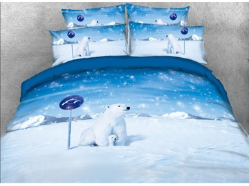 Onlwe 3D Snowy Polar Bear Printed 4-Piece Blue Bedding Sets/Duvet Covers