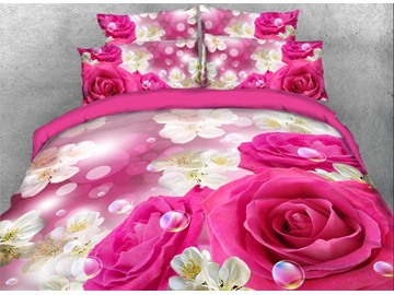Onlwe 3D Pink Rose with Sakura Printed 4-Piece Bedding Sets/Duvet Covers