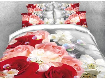 Onlwe 3D Rose and Sakura with Bubble Printed 4-Piece Bedding Sets/Duvet Covers