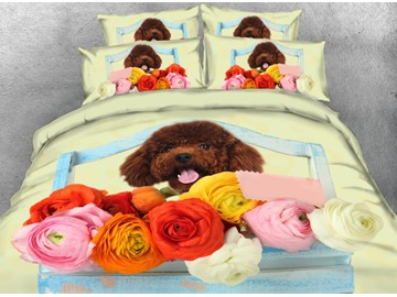 Toy Poodle with Flowers Printed 4-Piece 3D Bedding Sets/Duvet Covers