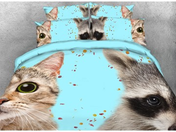 Onlwe 3D Cat and Raccoon Face Printed 4-Piece Animal Bedding Sets/Duvet Covers