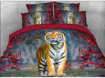 Onlwe 3D Standing Tiger with Red Leaves Printed 4-Piece Bedding Sets/Duvet Covers