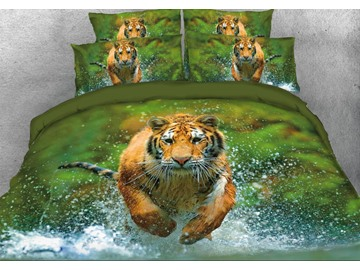 Onlwe 3D Tiger Running through Water Printed 4-Piece Animal Bedding Sets/Duvet Covers