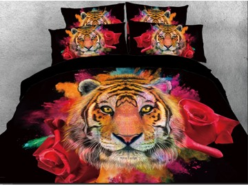 Tiger Face with Red Rose Printed 3D 4-Piece Bedding Sets/Duvet Covers