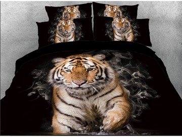 Tiger with Smog Printed 4-Piece Black 3D Bedding Sets/Duvet Covers