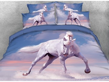White Horse Running Printed 4-Piece Animal 3D Bedding Sets/Duvet Covers