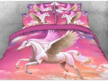 Onlwe 3D White Unicorn Flying in the Sky 4-Piece Bedding Sets/Duvet Covers