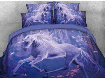 Onlwe 3D Unicorn in Woods Printed 4-Piece Bedding Sets/Duvet Covers