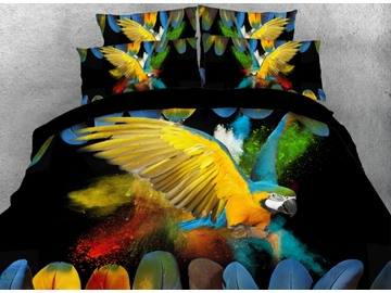 Onlwe 3D Flying Parrot with Colorful Feathers Printed 4-Piece Bedding Sets/Duvet Covers