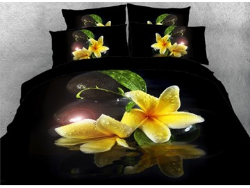 Yellow Lily with Dew Printed 4-Piece Black 3D Bedding Sets/Duvet Covers