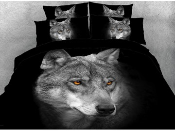 Onlwe 3D Cool Wolf Printed 4-Piece Black Bedding Sets/Duvet Covers