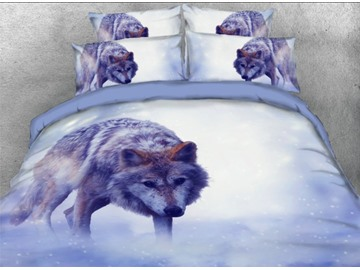 Onlwe 3D Wolf in the Snow Printed 4-Piece Bedding Sets/Duvet Covers