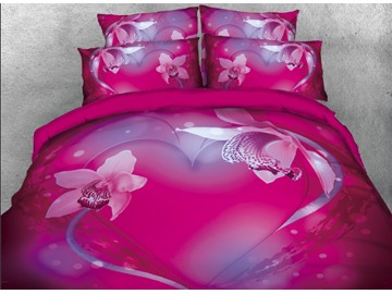 Onlwe 3D Floral Pink Heart Printed 4-Piece Bedding Sets/Duvet Covers