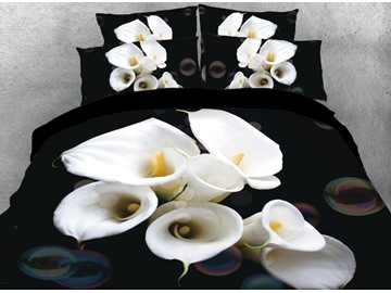 Vivilinen 3D White Flowers Printed 4-Piece Black Bedding Sets/Duvet Covers