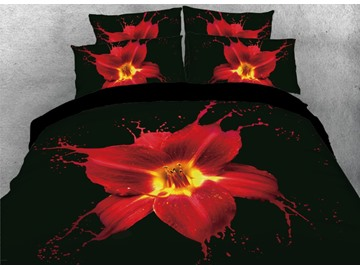 Onlwe 3D Art Painting Red Lily Printed 4-Piece Black Bedding Sets/Duvet Covers