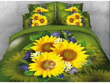 Onlwe 3D Sunflowers with Blue Flowers Printed 4-Piece Green Bedding Sets/Duvet Covers