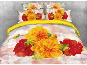 Onlwe 3D Yellow and Red Flowers Printed 4-Piece Bedding Sets/Duvet Covers