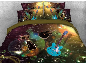 Vivilinen 3D Blue and Black Guitars with Bubble Printed 4-Piece Bedding Sets/Duvet Covers