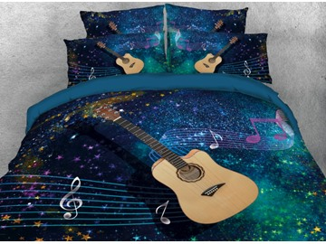 Onlwe 3D Guitar with Musical Notation Printed 4-Piece Bedding Sets/Duvet Covers
