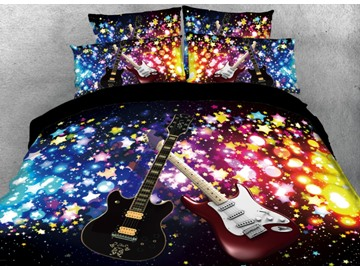 Vivilinen Sparkle Cool Guitar Printed 4-Piece Black 3D Bedding Sets/Duvet Covers