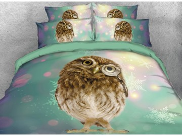 Onlwe 3D Adorable Owl Printed 4-Piece Blue Bedding Sets/Duvet Covers