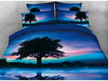 Onlwe 3D Natural Tree Scenery Printed 4-Piece Bedding Sets/Duvet Covers