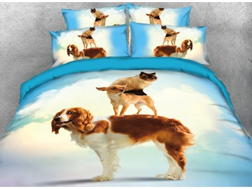 Vivilinen Dogs and Cat Printed 4-Piece 3D Bedding Sets/Duvet Covers